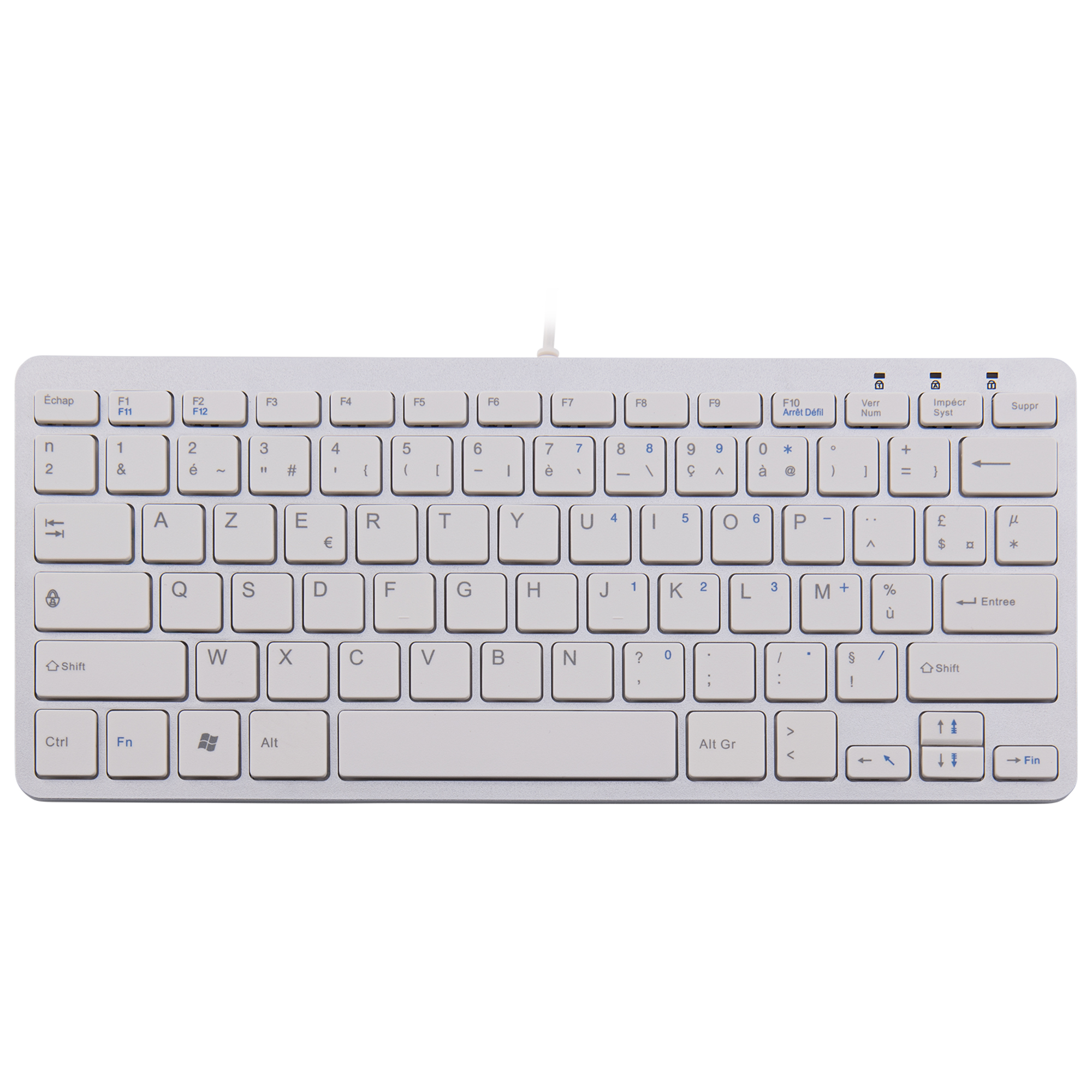 R-Go Clavier Compact, AZERTY (FR), blanc, filaire