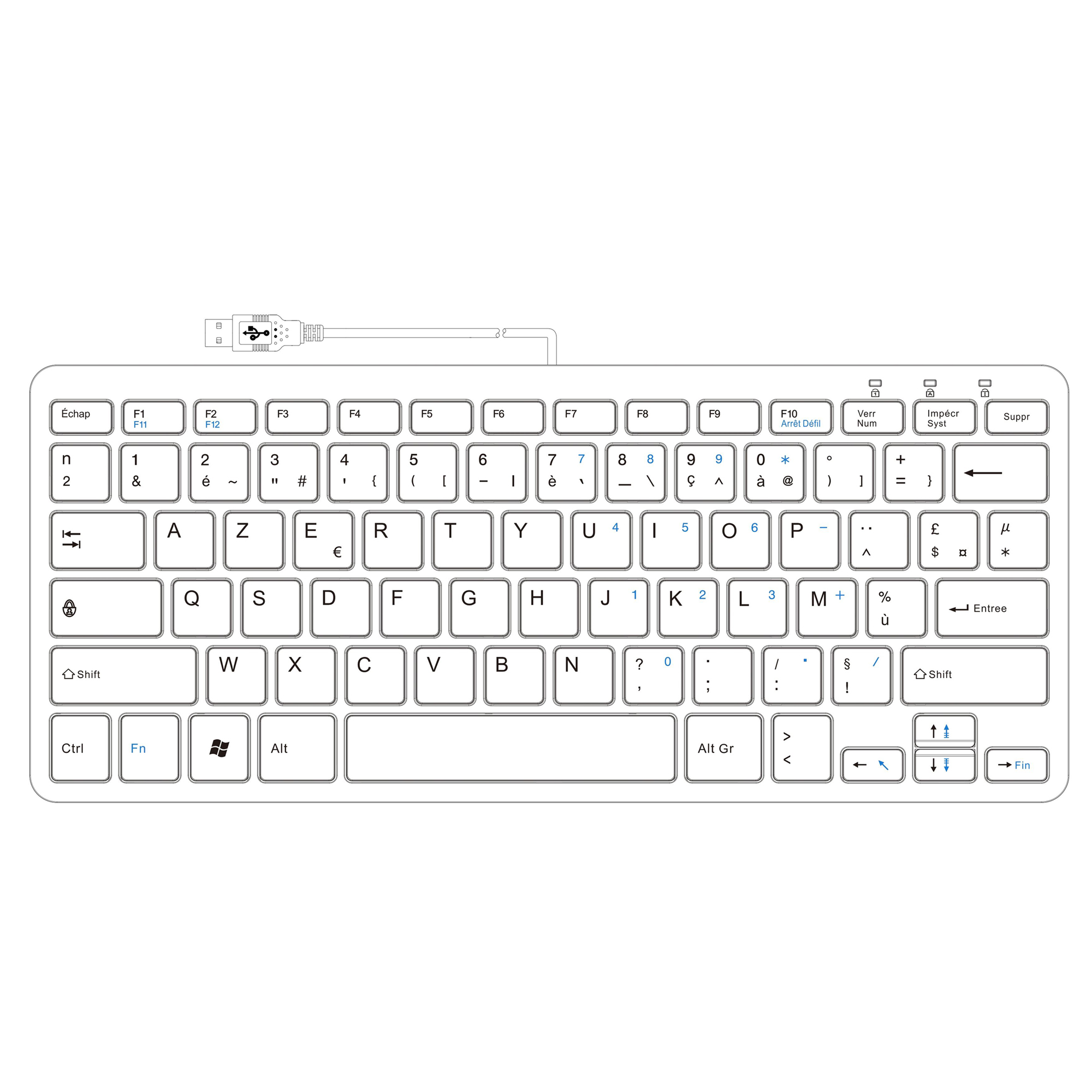 R-Go Clavier Compact, AZERTY (FR), blanc, filaire - 2