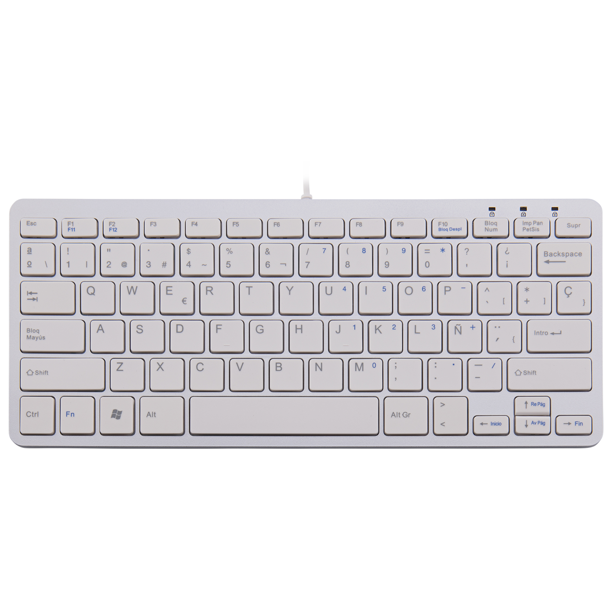 R-Go Clavier Compact, QWERTY (ES), blanc, filaire - 1