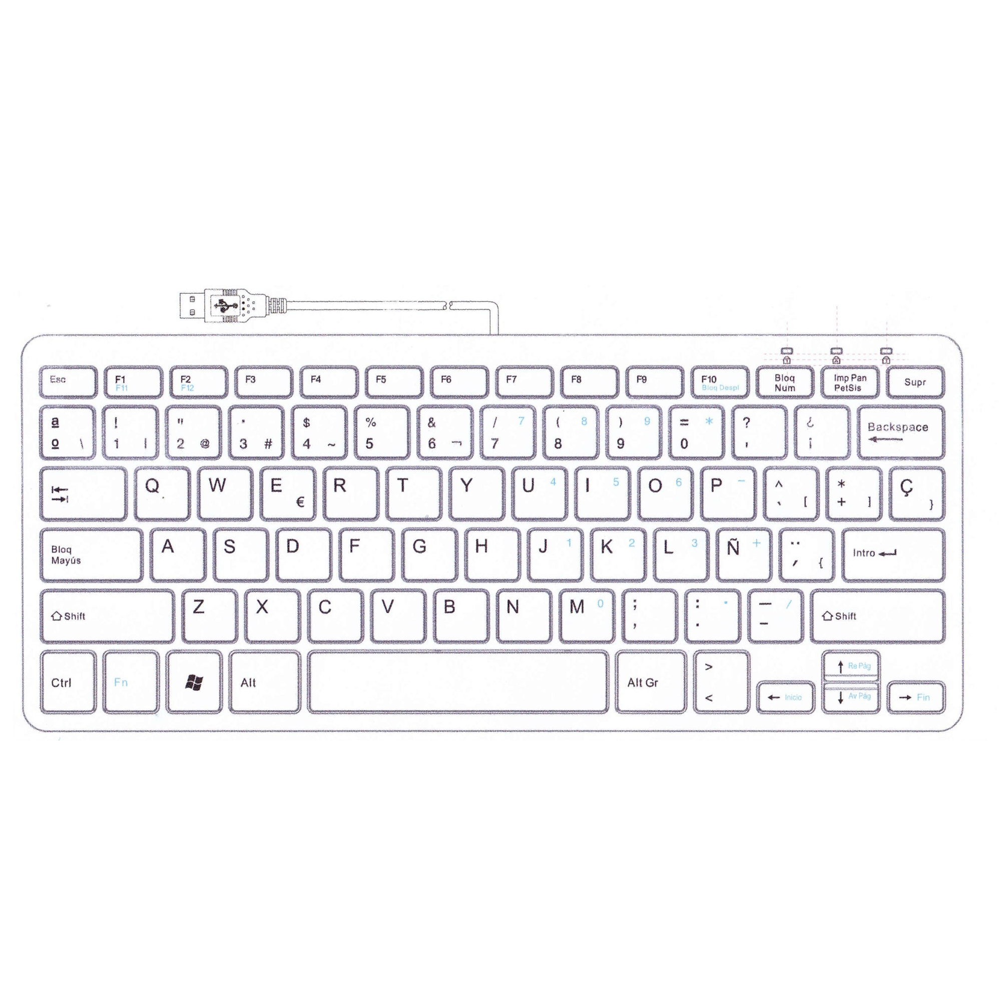 R-Go Clavier Compact, QWERTY (ES), blanc, filaire - 2