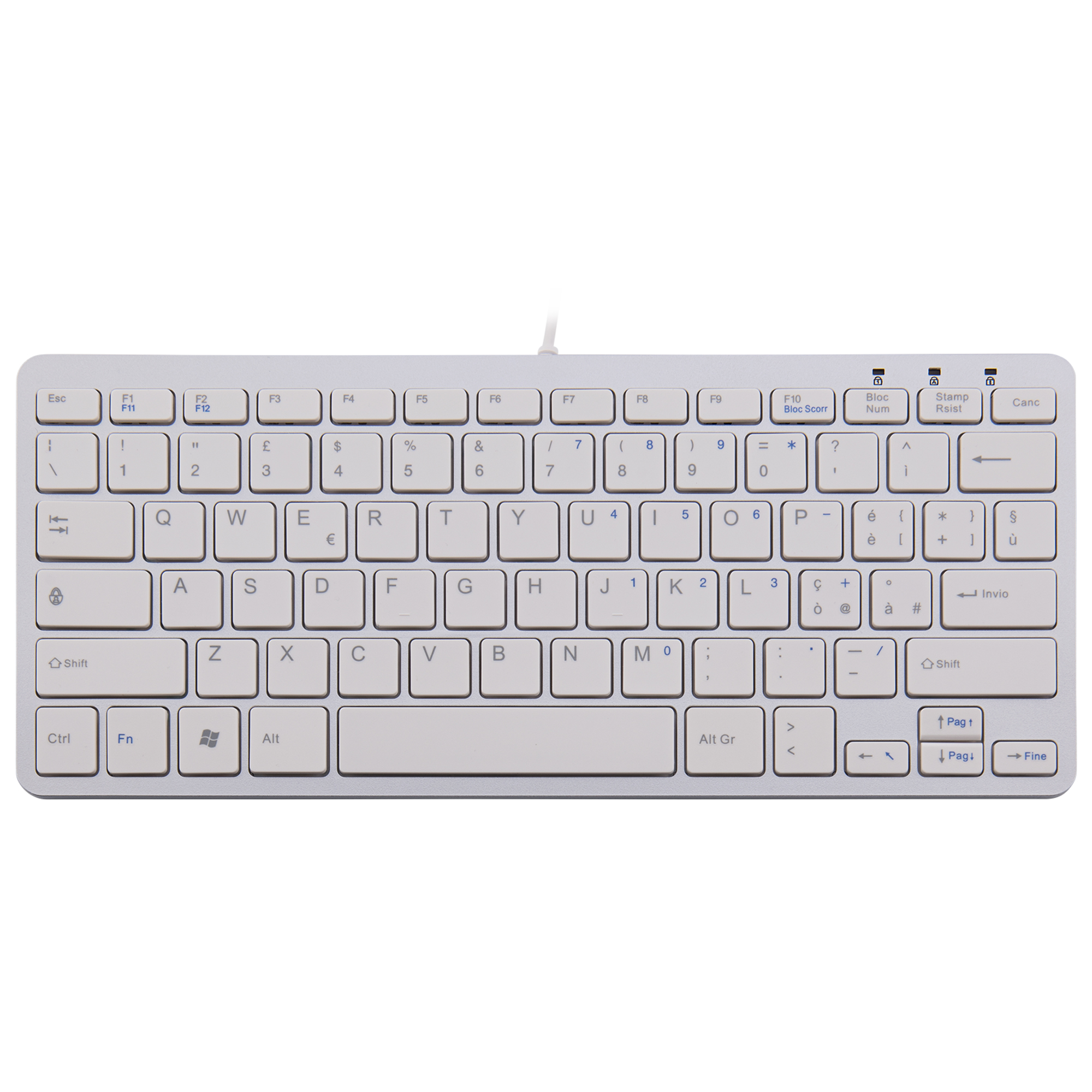 R-Go Clavier Compact, QWERTY (IT), blanc, filaire